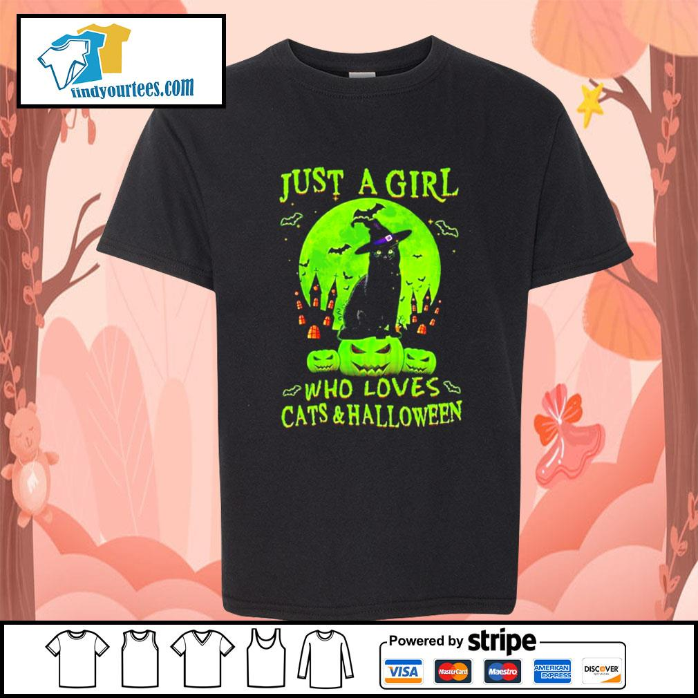 Black cat just a girl who loves cat's and Halloween s Kid-T-shirt