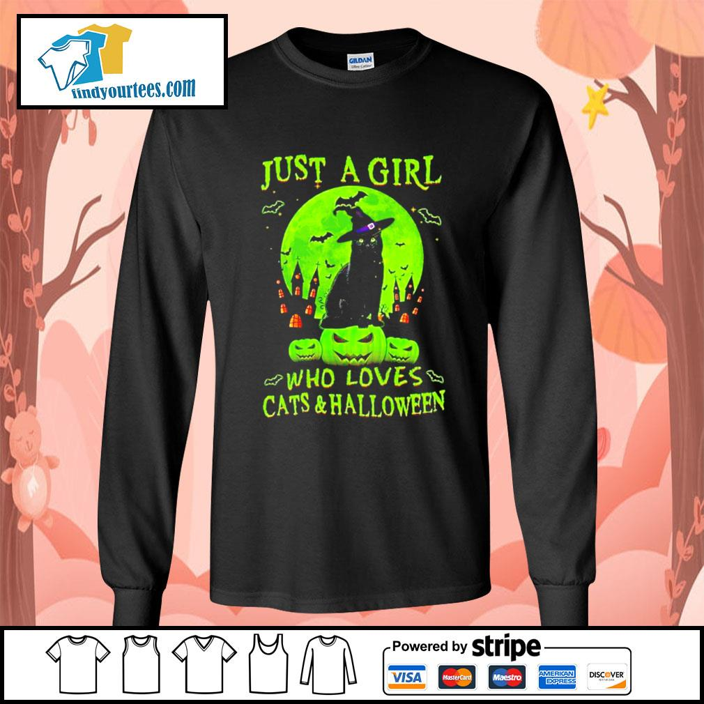 Black cat just a girl who loves cat's and Halloween s Long-Sleeves-Tee