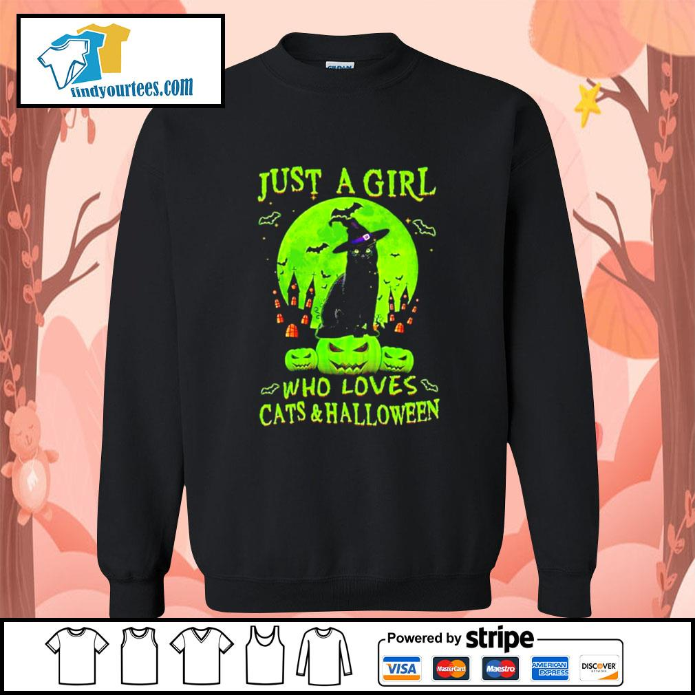 Black cat just a girl who loves cat's and Halloween s Sweater