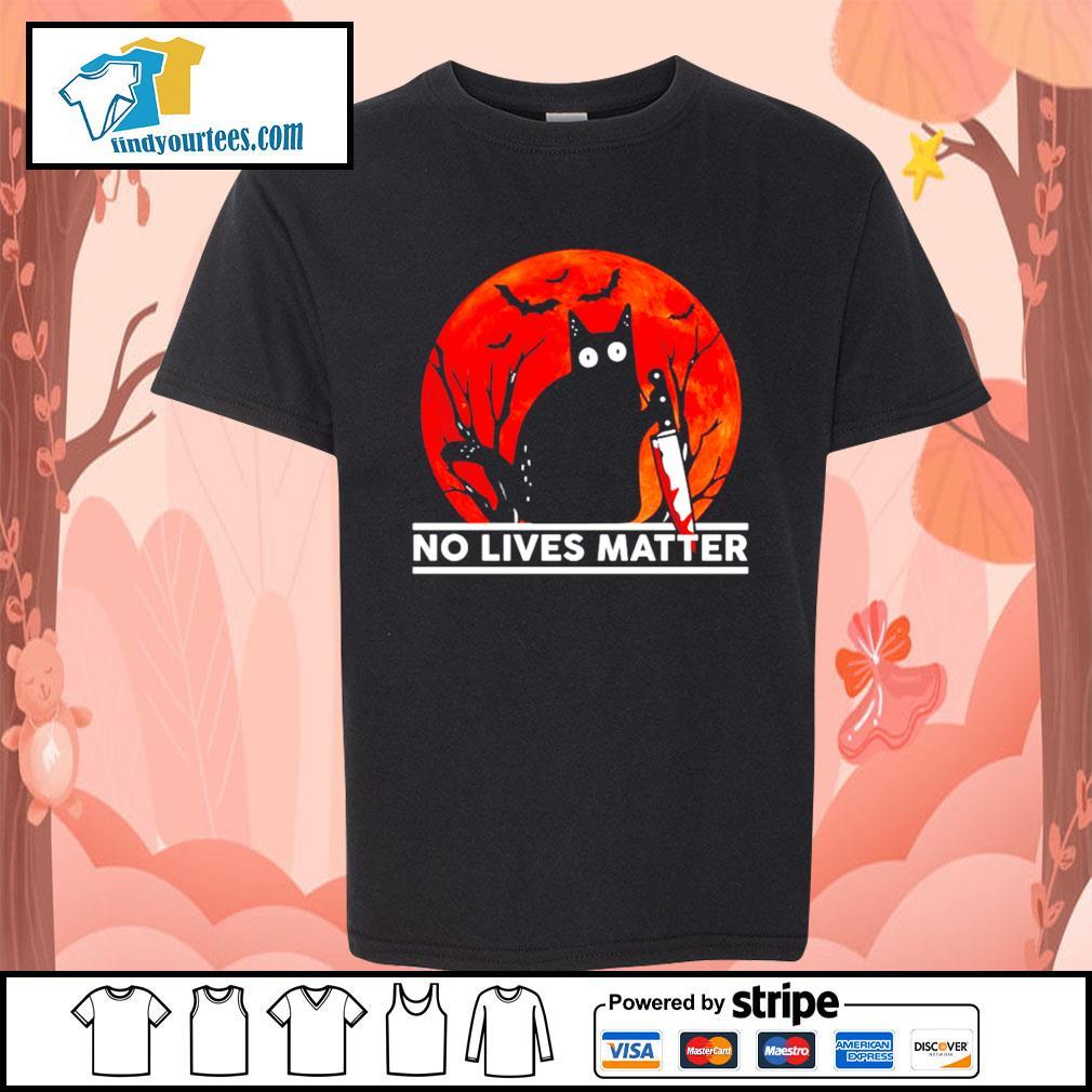 Black cat no lives matter Halloween s Kid-T-shirt