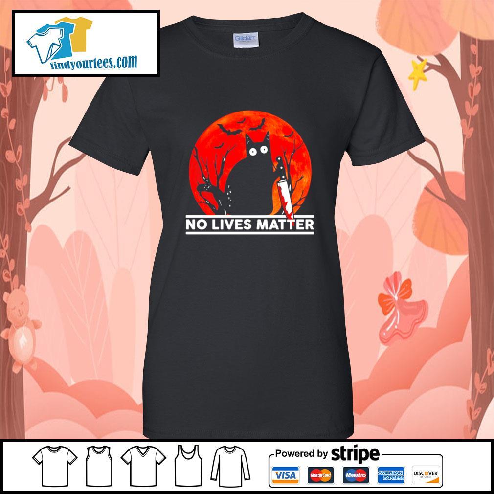 Black cat no lives matter Halloween s Ladies-Tee
