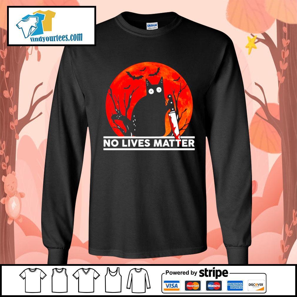 Black cat no lives matter Halloween s Long-Sleeves-Tee