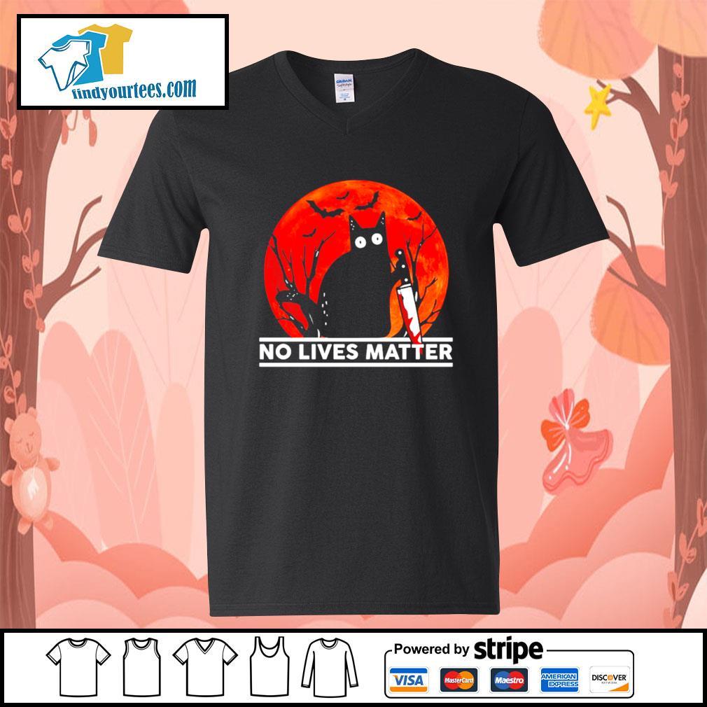 Black cat no lives matter Halloween s V-neck-T-shirt