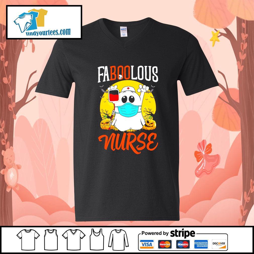Boo Ghost Faboolous nurse Halloween s V-neck-T-shirt