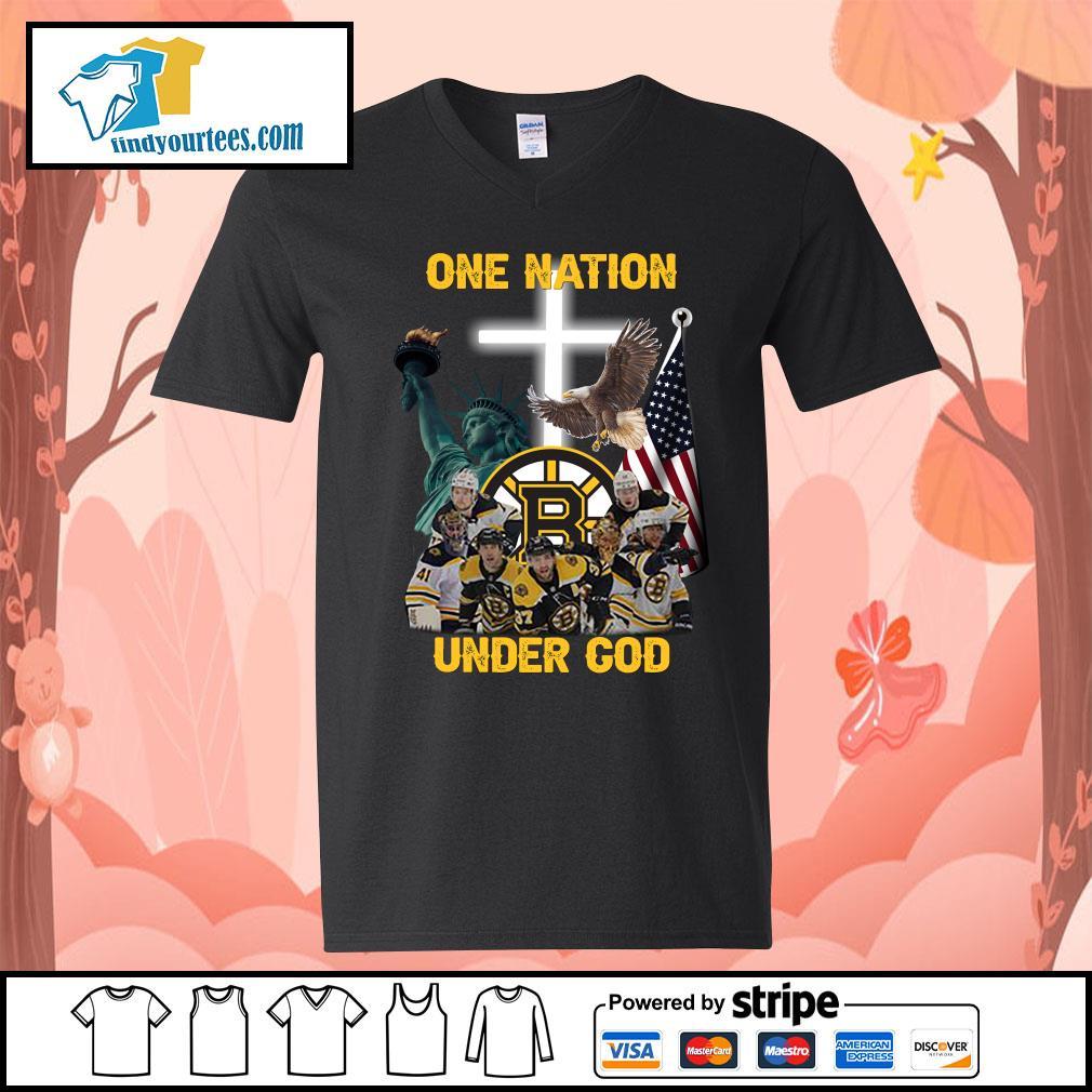 Boston Bruins one nation under god s V-neck-T-shirt