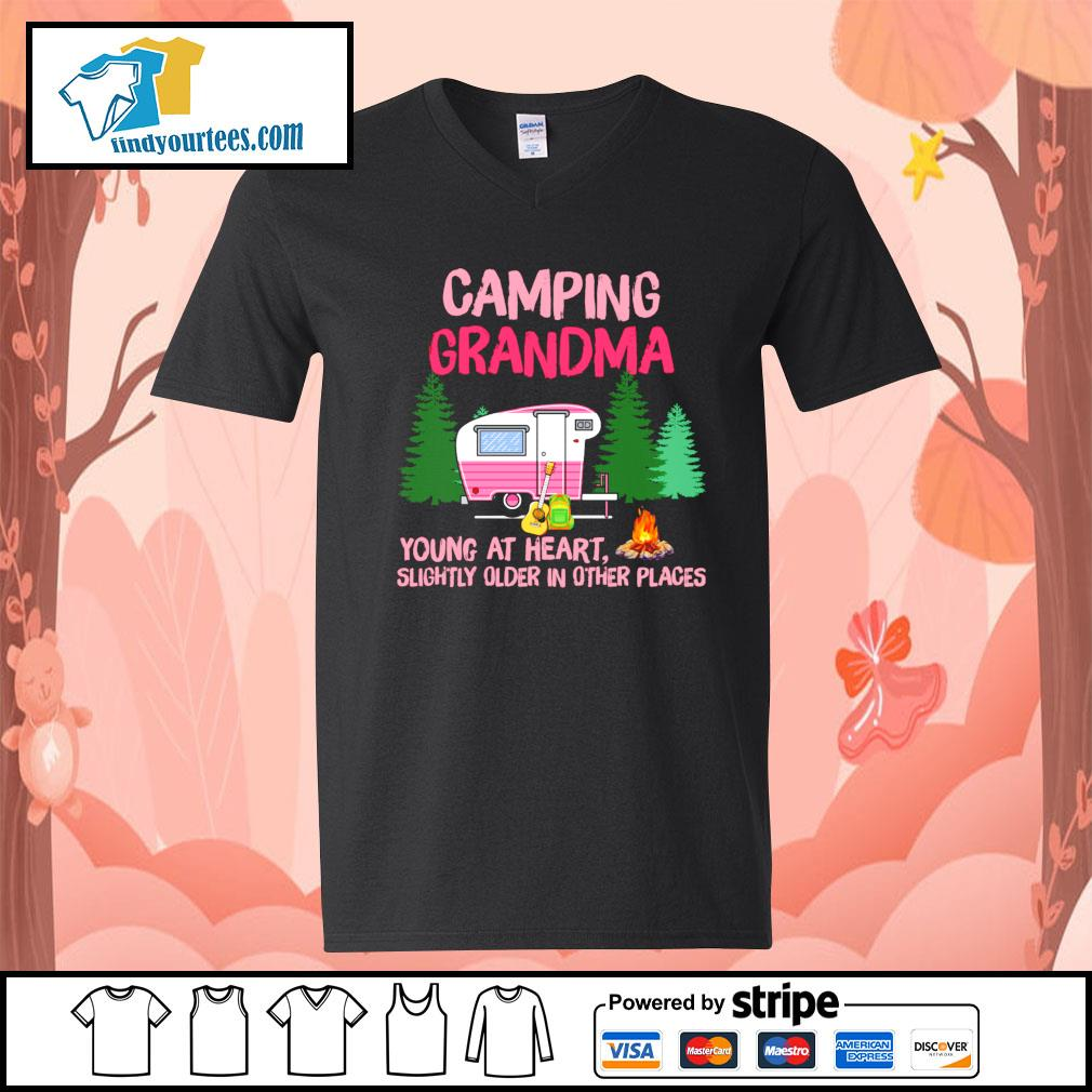 Camping Grandma young at heart slightly older in other places s V-neck-T-shirt