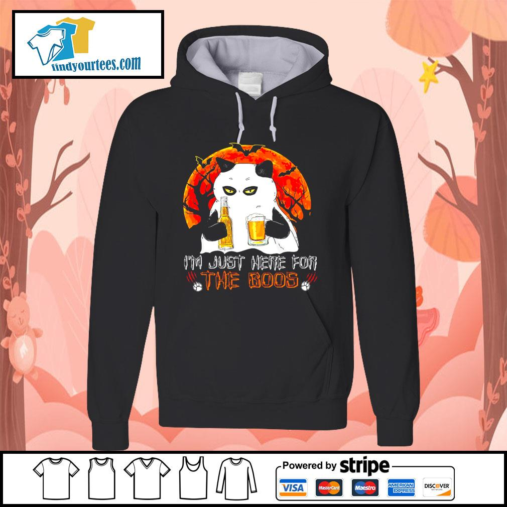 Cat Ghost I'm just here for the boos Halloween s Hoodie