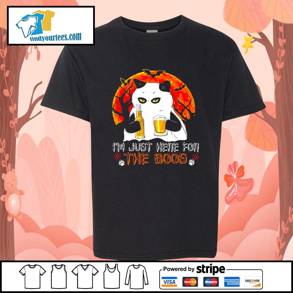Cat Ghost I'm just here for the boos Halloween s Kid-T-shirt