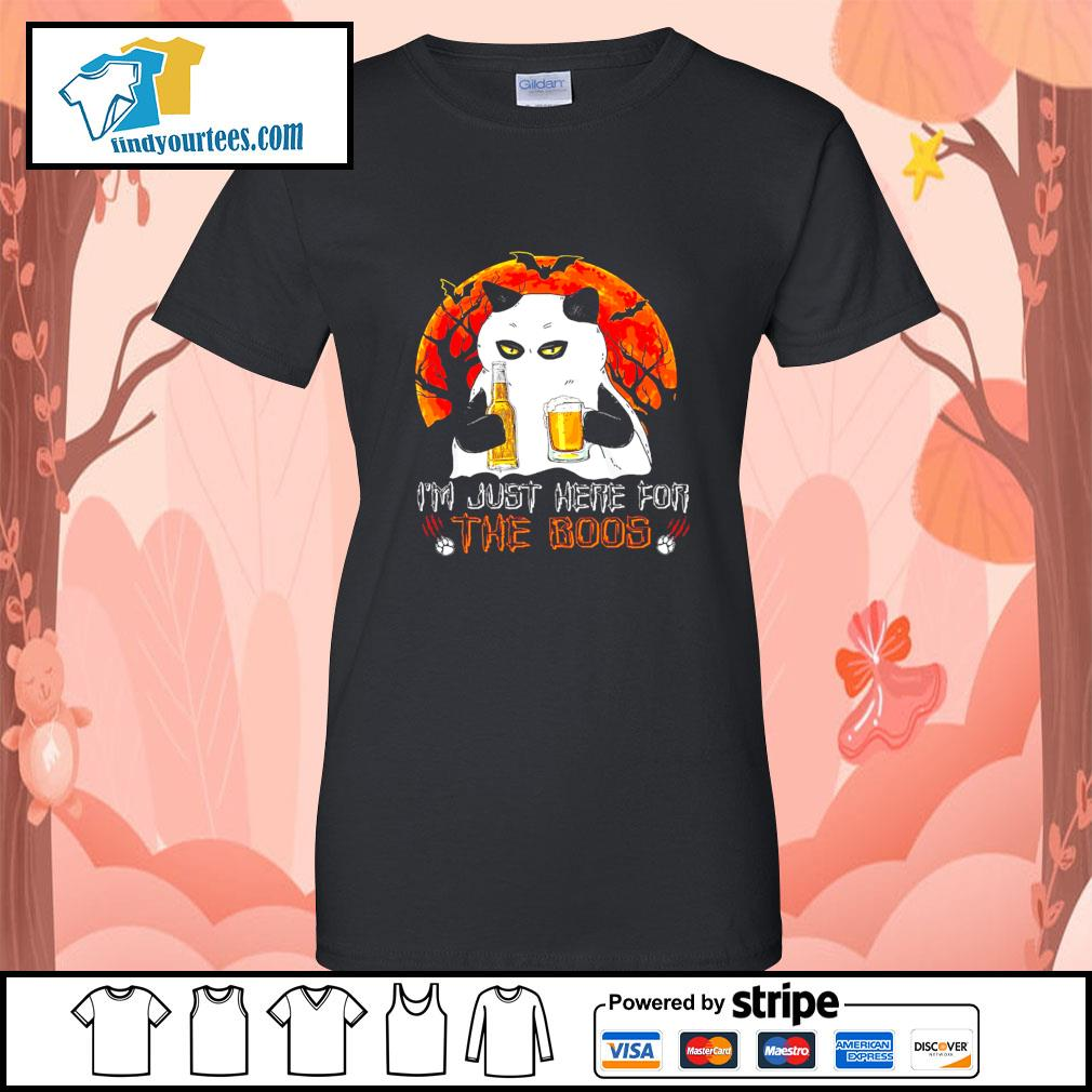 Cat Ghost I'm just here for the boos Halloween s Ladies-Tee