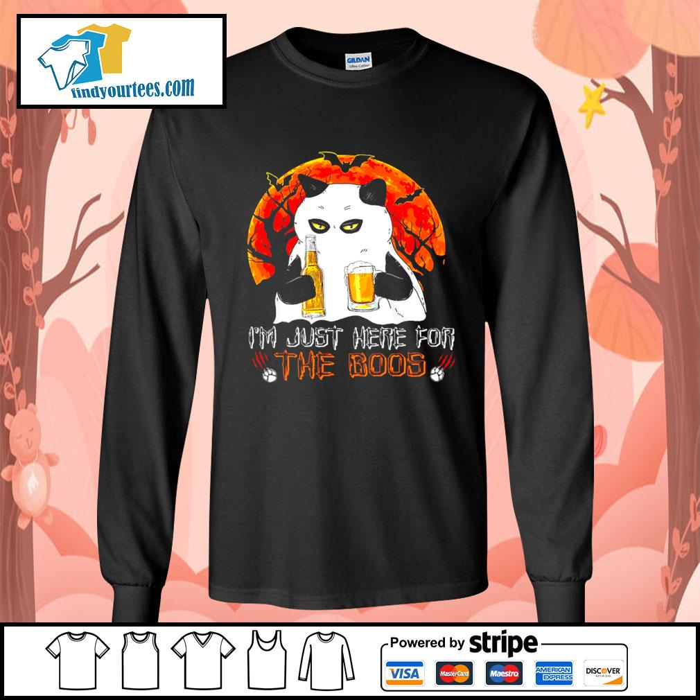 Cat Ghost I'm just here for the boos Halloween s Long-Sleeves-Tee