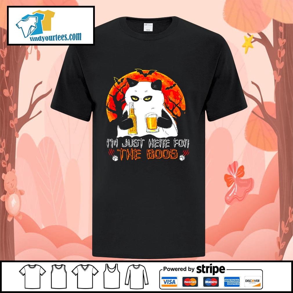 Cat Ghost I'm just here for the boos Halloween shirt