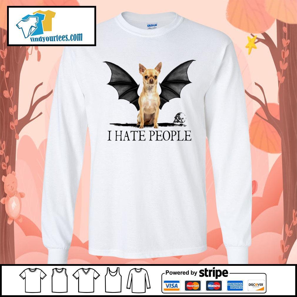 Chihuahua Batman I hate people Halloween s Long-Sleeves-Tee