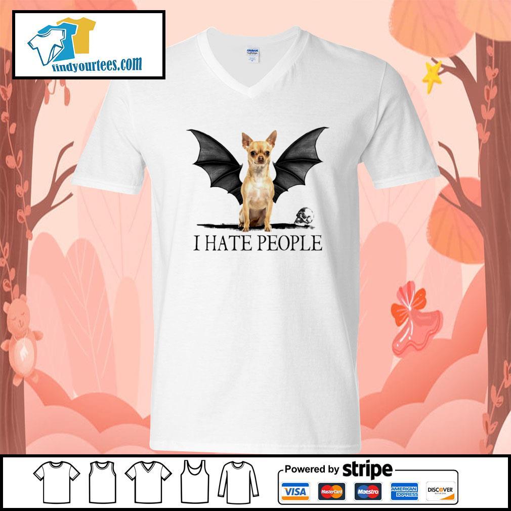 Chihuahua Batman I hate people Halloween s V-neck-T-shirt