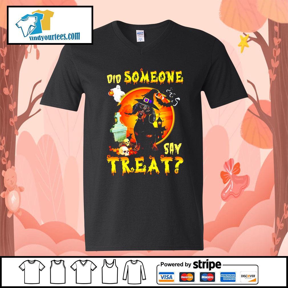 Dachshund did someone say treat Halloween s V-neck-T-shirt