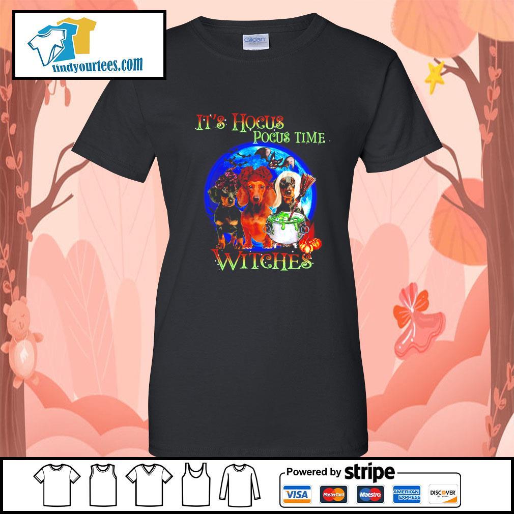 Dachshund it's Hocus Pocus time witches Halloween s Ladies-Tee