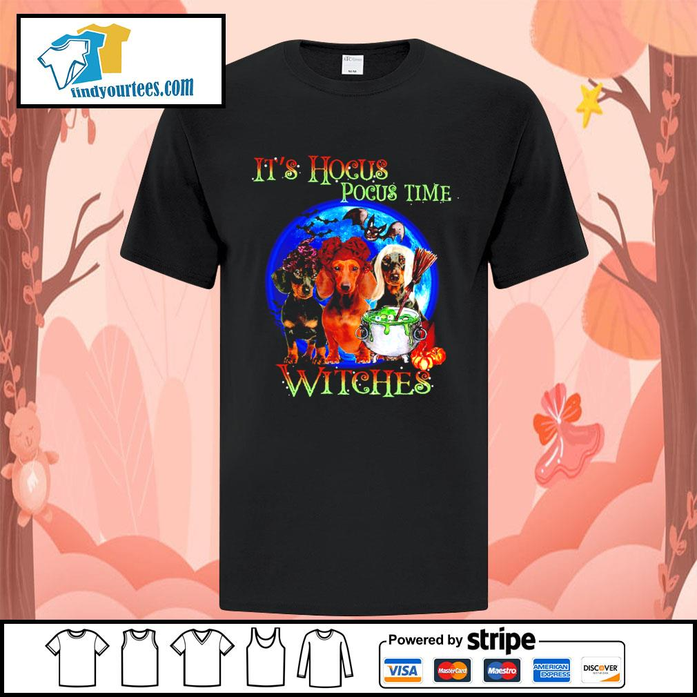 Dachshund it's Hocus Pocus time witches Halloween shirt