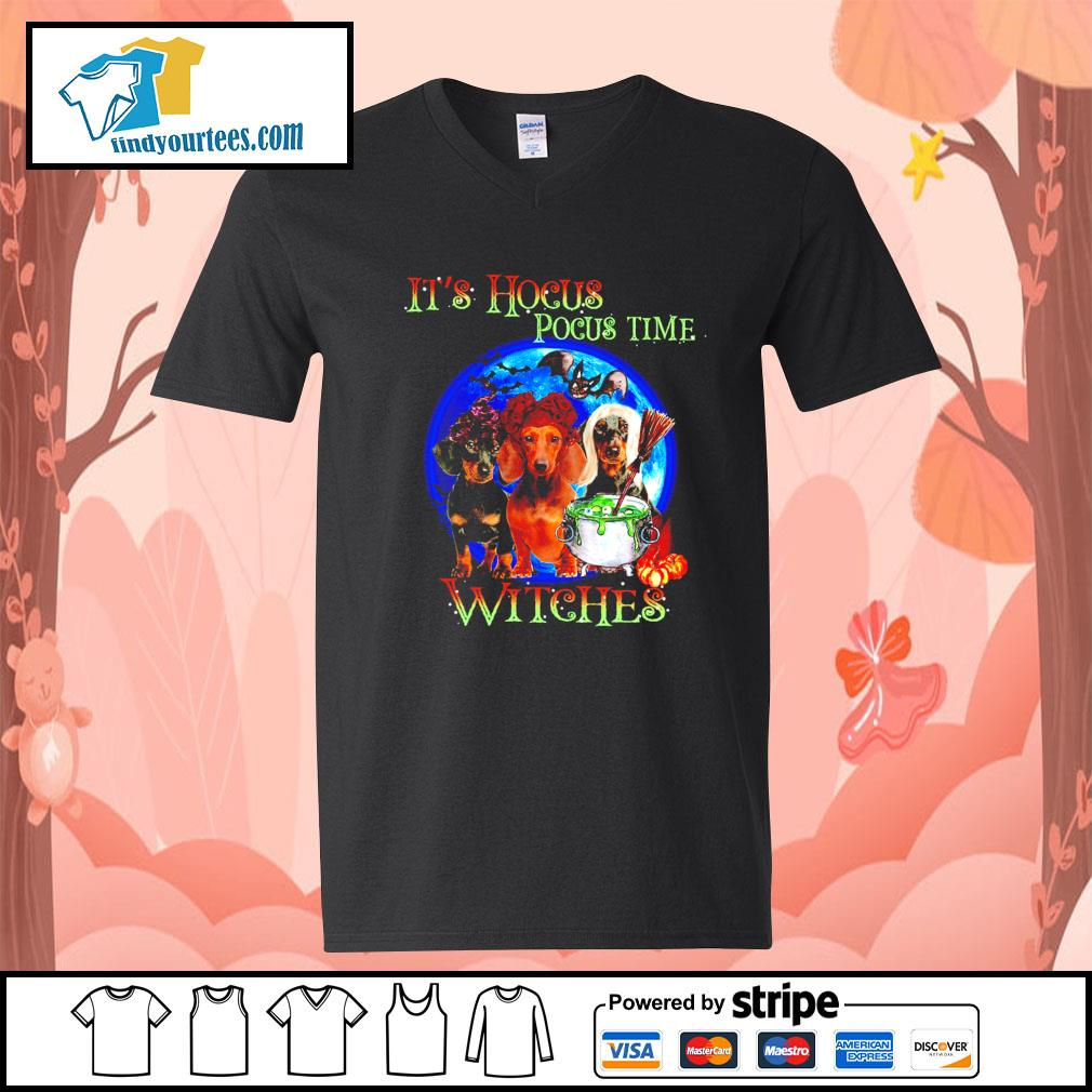 Dachshund it's Hocus Pocus time witches Halloween s V-neck-T-shirt