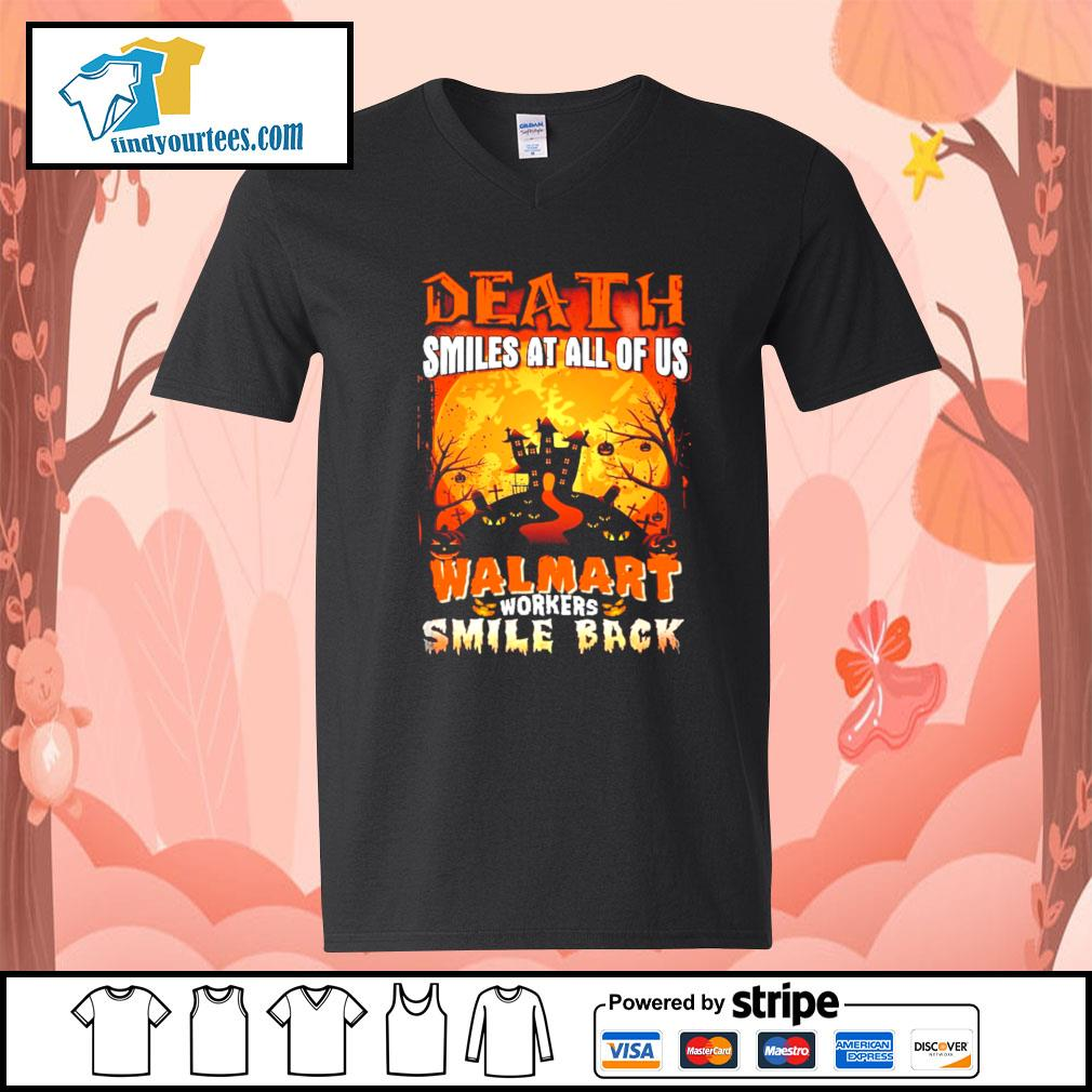 Death smiles at all of us Walmart workers smile back Halloween s V-neck-T-shirt