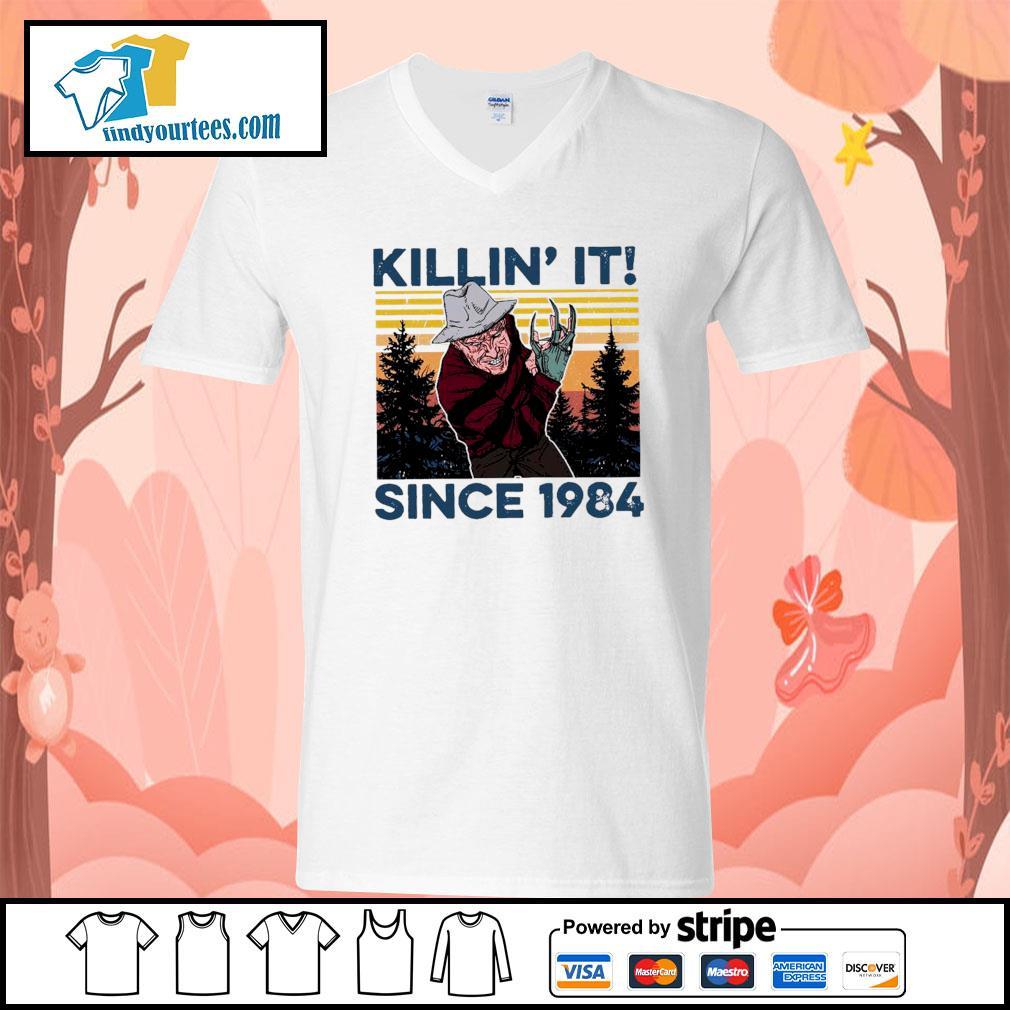 Freddy Krueger Killin' it since 1984 vintage Halloween s V-neck-T-shirt