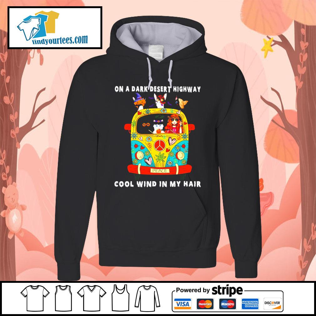 Girl and Cats on a dark desert highway cool wind in my hair s Hoodie