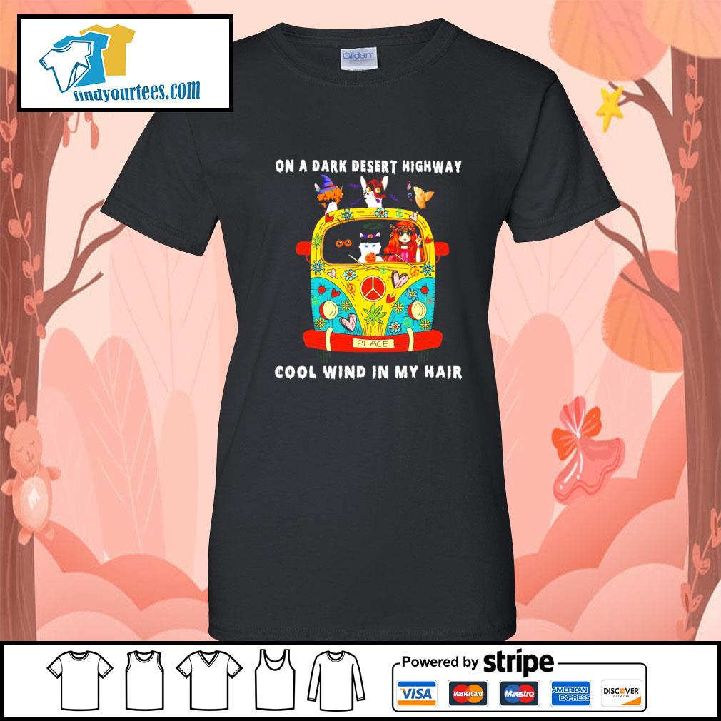 Girl and Cats on a dark desert highway cool wind in my hair s Ladies-Tee