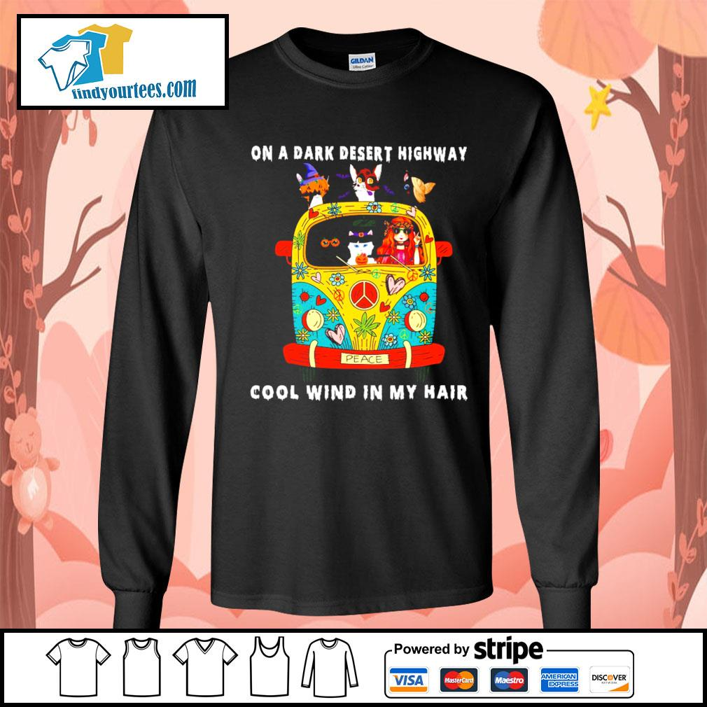Girl and Cats on a dark desert highway cool wind in my hair s Long-Sleeves-Tee