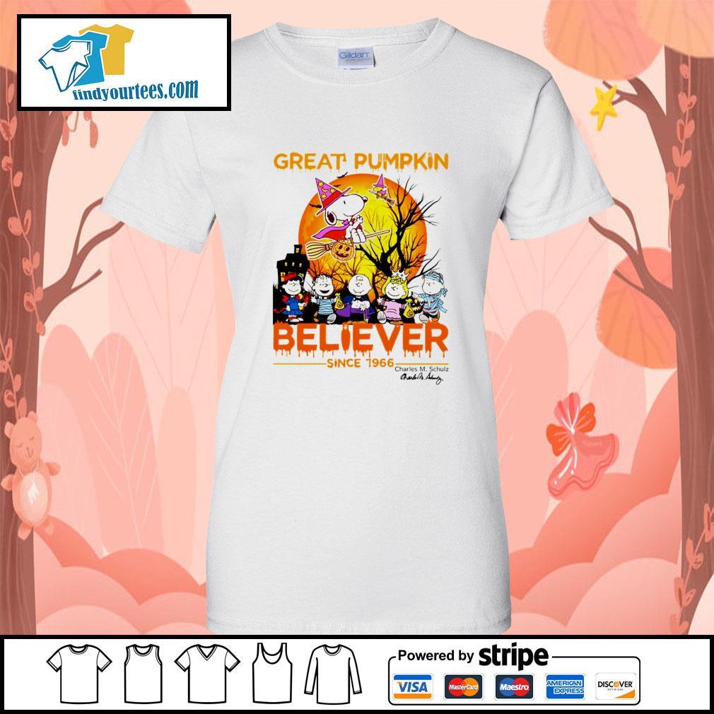 Great Pumpkin believer since 1966 Charles M. Schulz signature Halloween s Ladies-Tee