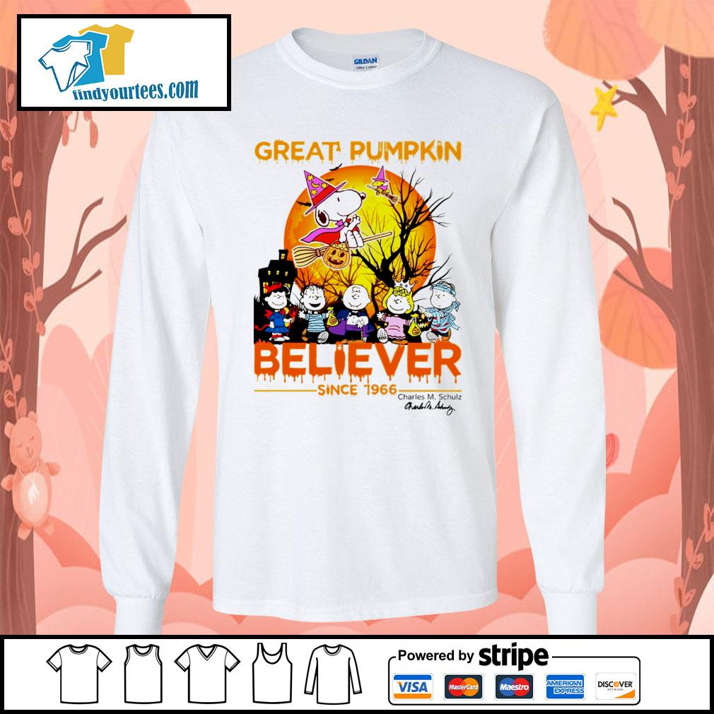 Great Pumpkin believer since 1966 Charles M. Schulz signature Halloween s Long-Sleeves-Tee