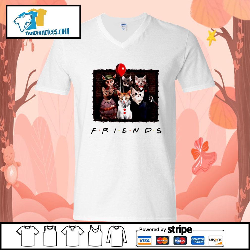 Halloween Friends tv show cat Horror movie character s V-neck-T-shirt