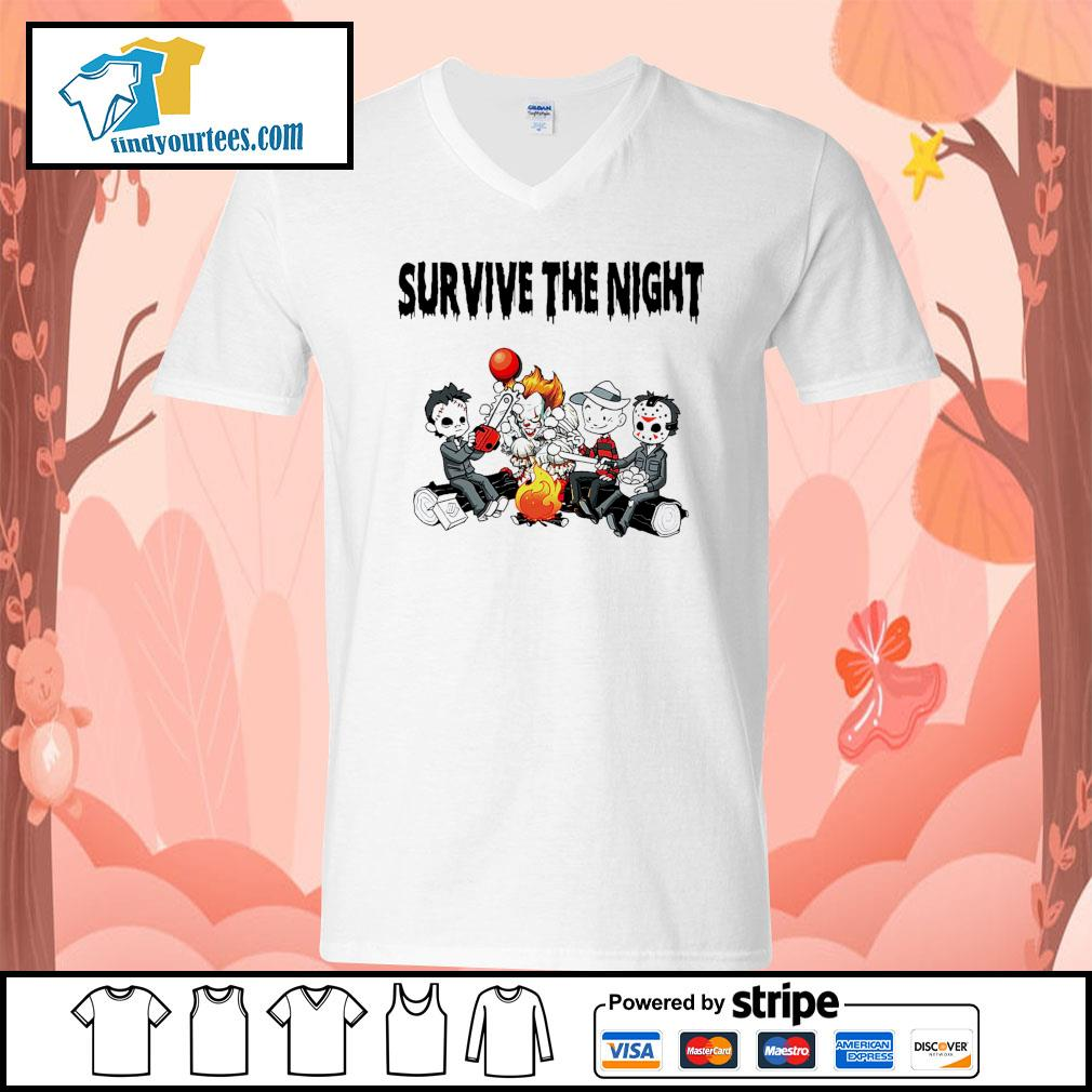 Horror movie character survive the night s V-neck-T-shirt