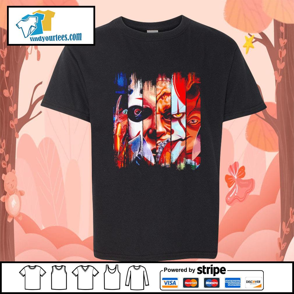 Horror movie characters face Halloween s Kid-T-shirt