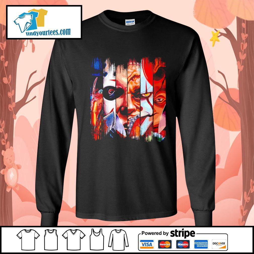 Horror movie characters face Halloween s Long-Sleeves-Tee