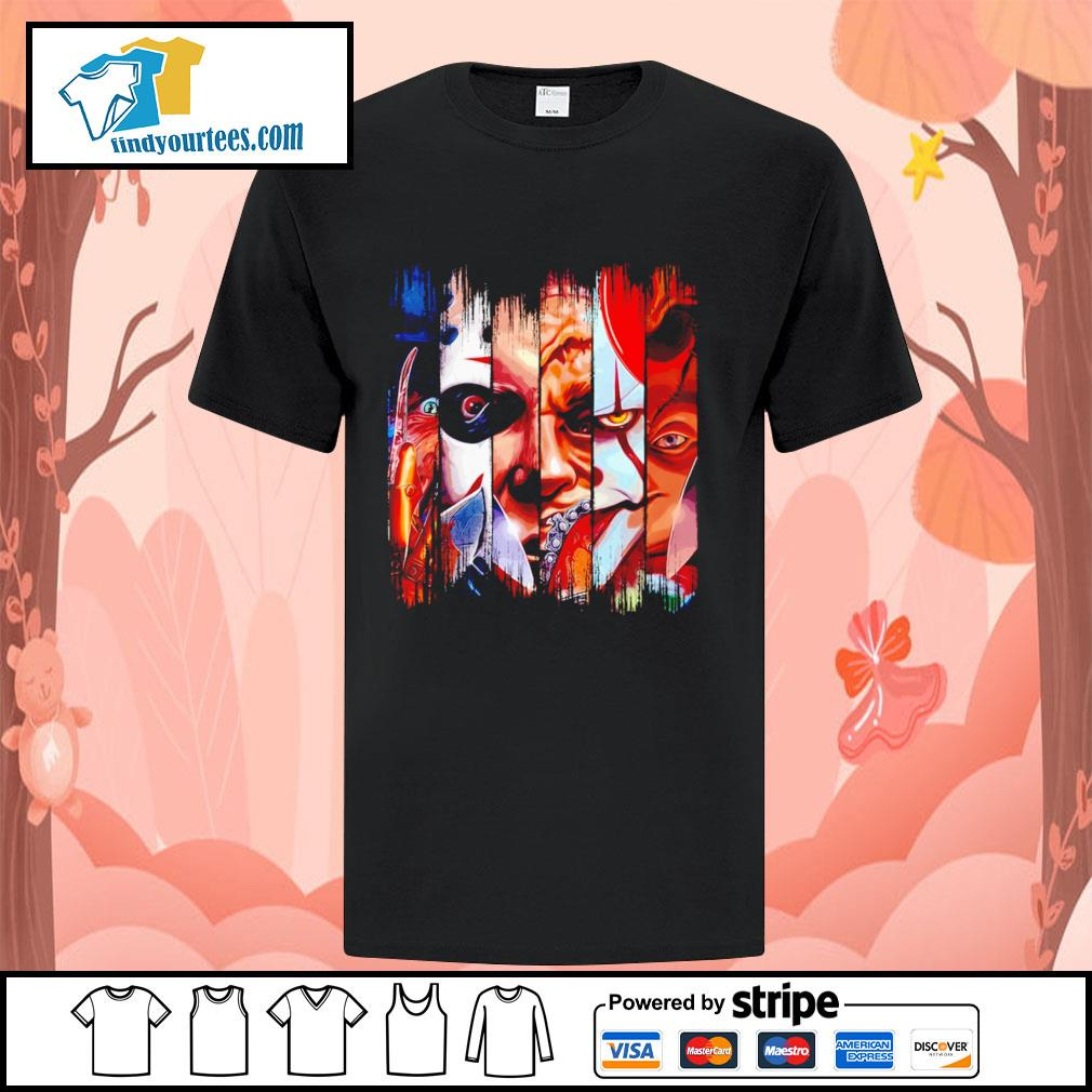 Horror movie characters face Halloween shirt