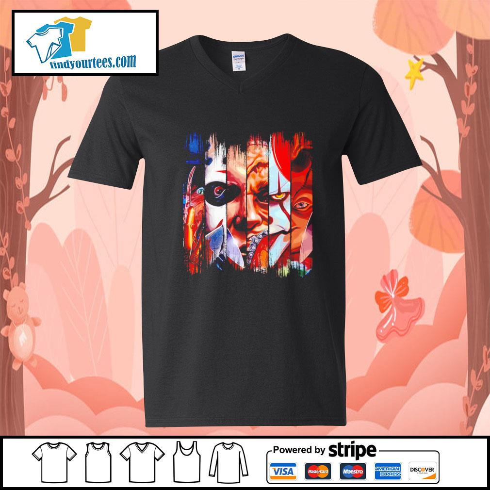 Horror movie characters face Halloween s V-neck-T-shirt