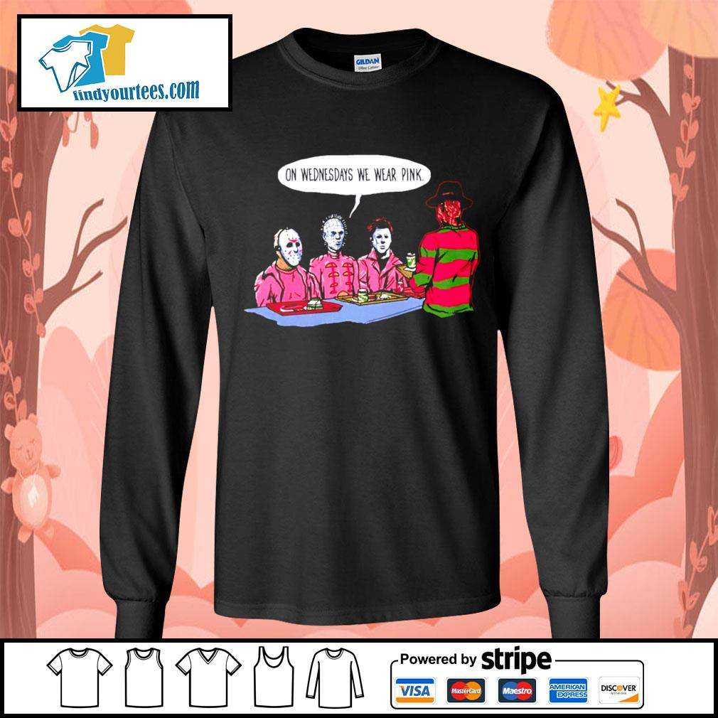 Horror movie characters on wednesdays we wear pink s Long-Sleeves-Tee