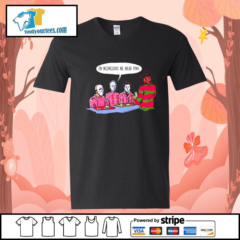 Horror movie characters on wednesdays we wear pink s V-neck-T-shirt