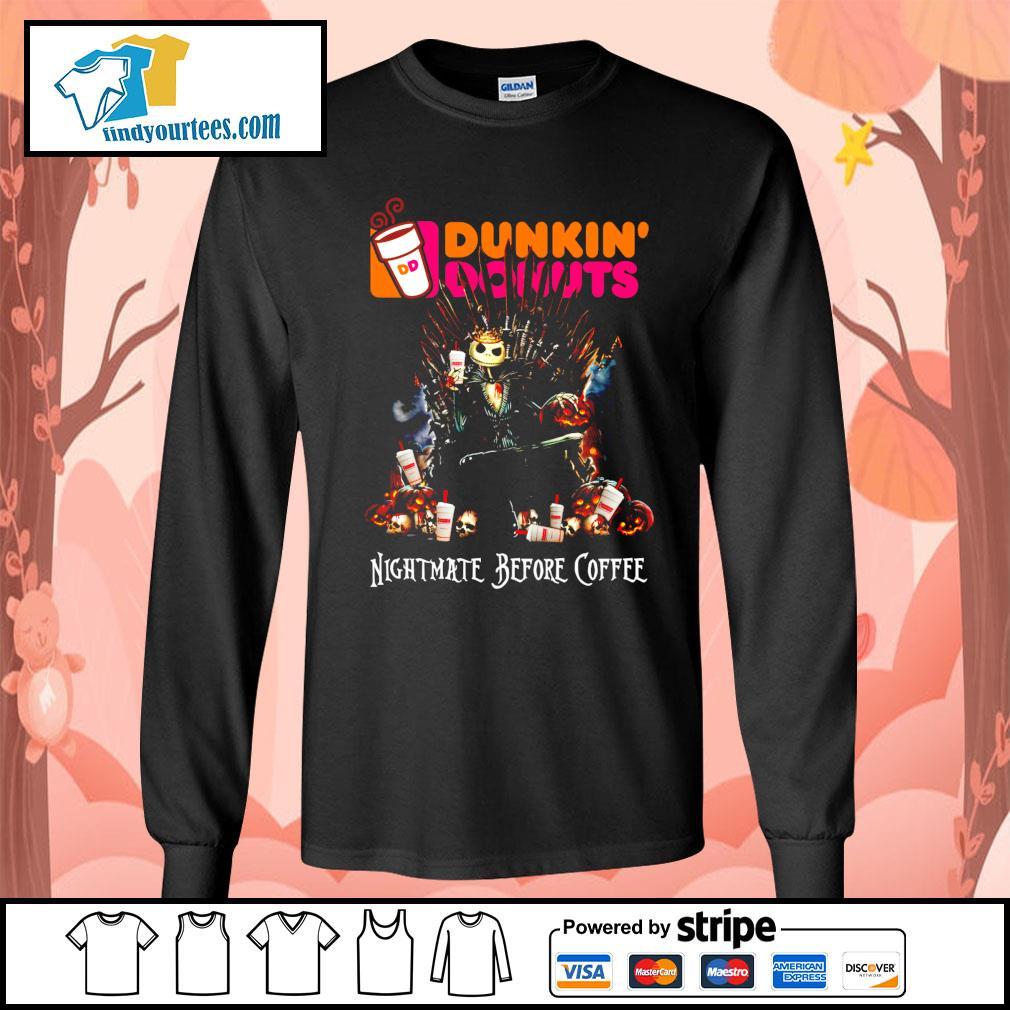 Jack Skellington King Nightmare before Coffee Dunkin' Donuts s Long-Sleeves-Tee