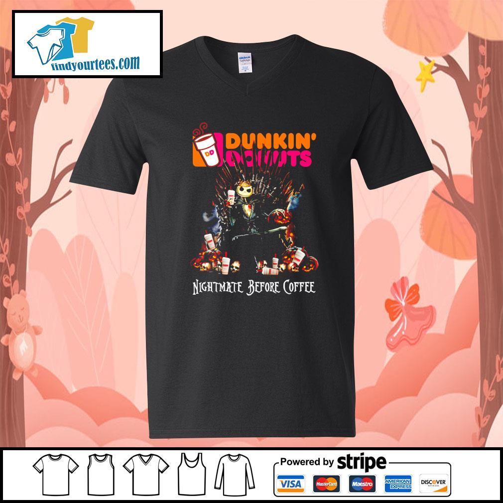 Jack Skellington King Nightmare before Coffee Dunkin' Donuts s V-neck-T-shirt