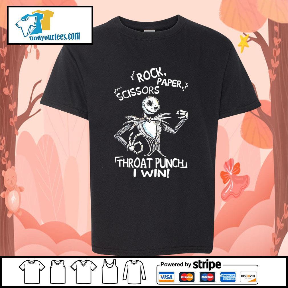 Jack Skellington Rock paper scissors throat runch I win s Kid-T-shirt