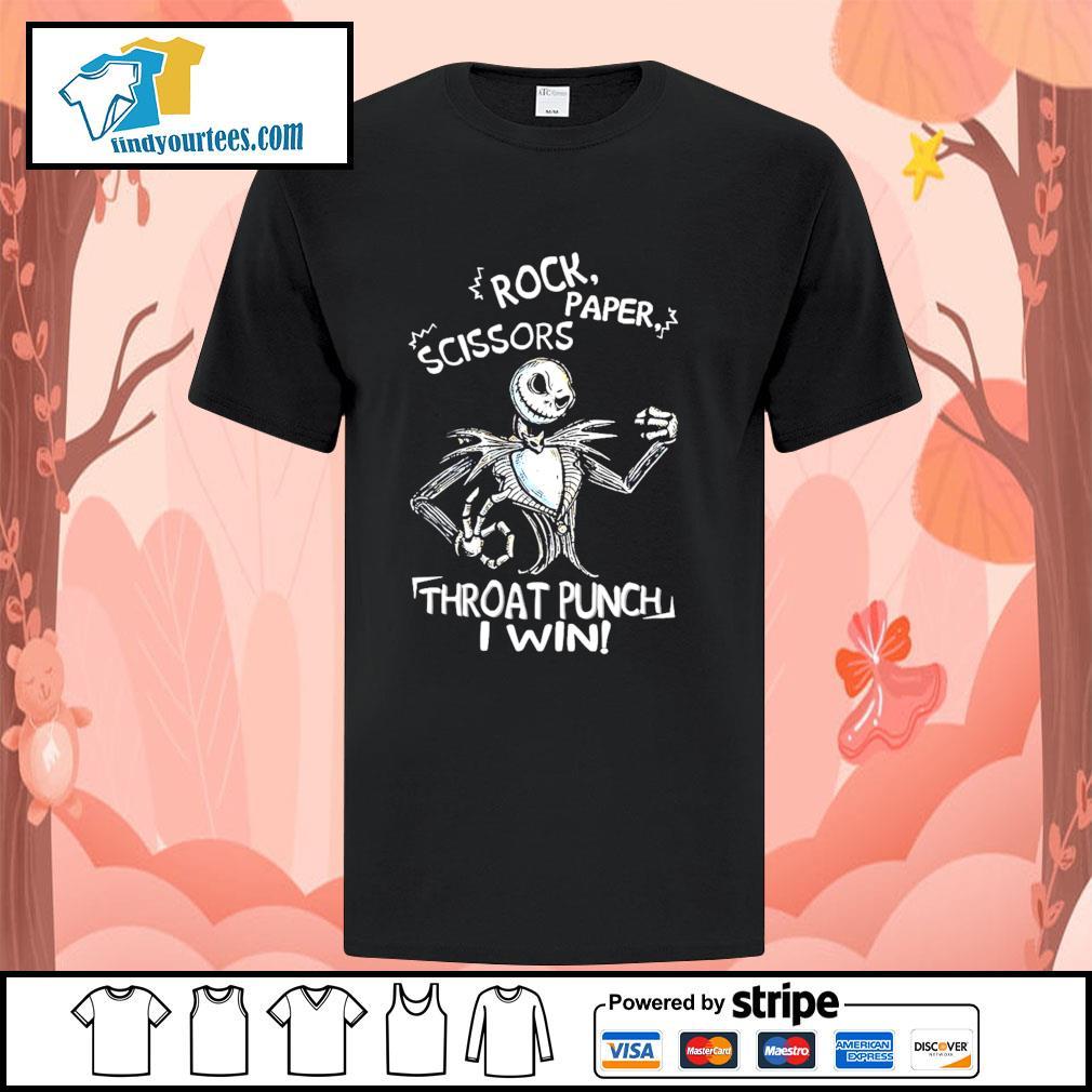 Jack Skellington Rock paper scissors throat runch I win shirt