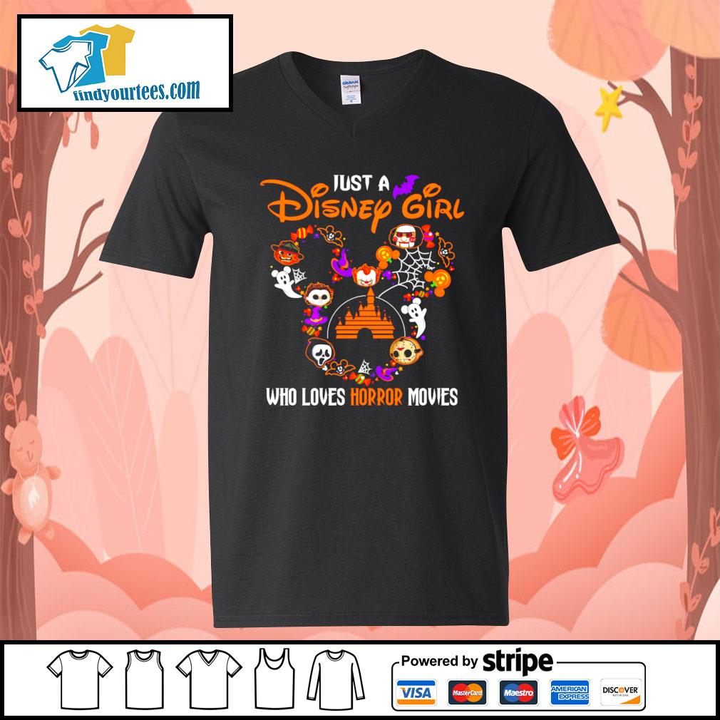 Just a Disney mouse girl who loves Horror movies Halloween s V-neck-T-shirt