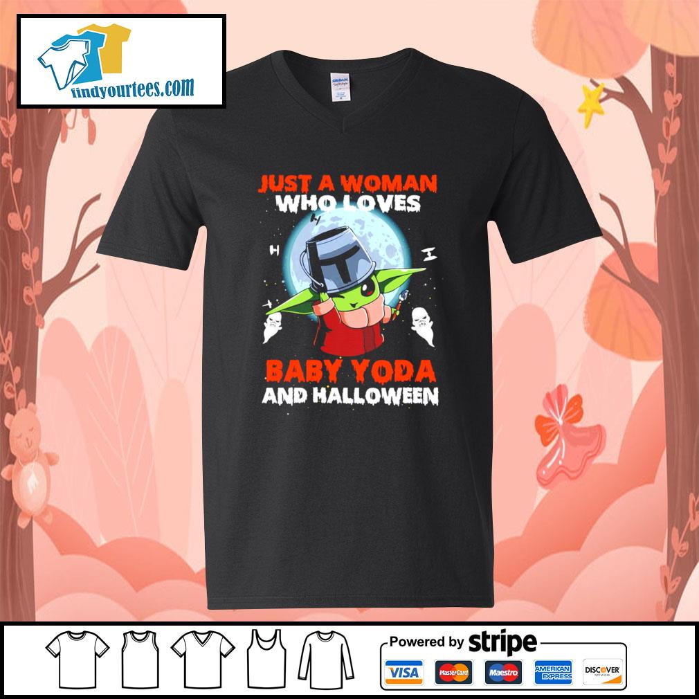 Just a woman who loves Baby Yoda and Halloween s V-neck-T-shirt