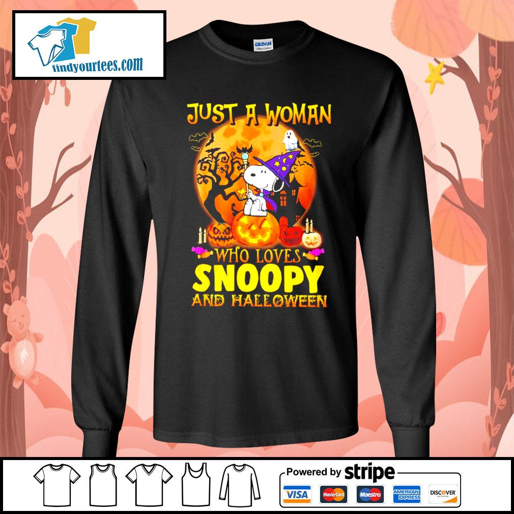 Just a woman who loves Snoopy and Halloween s Long-Sleeves-Tee