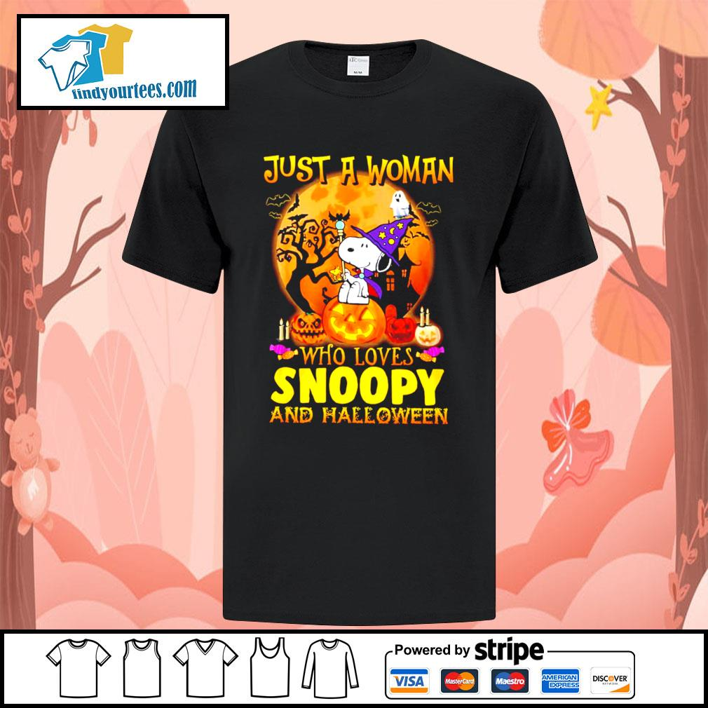 Just a woman who loves Snoopy and Halloween shirt