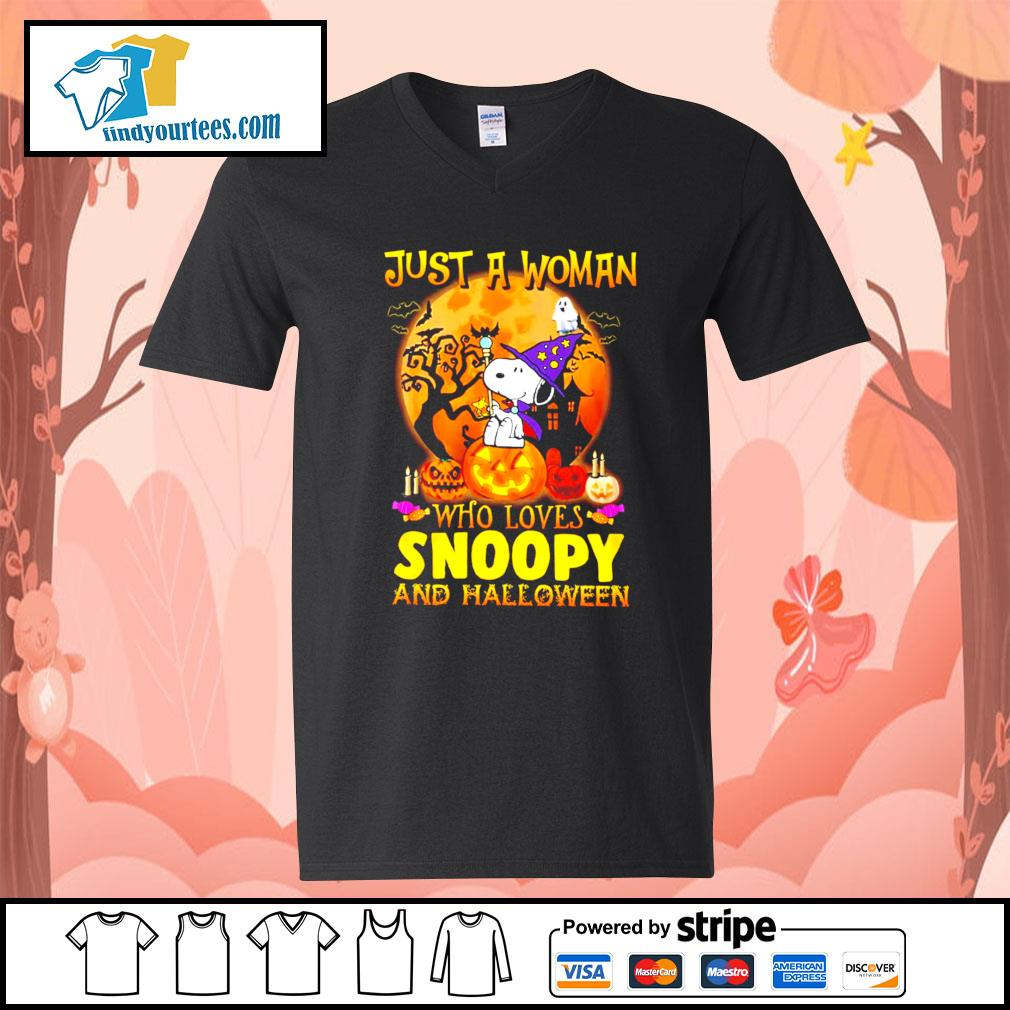 Just a woman who loves Snoopy and Halloween s V-neck-T-shirt