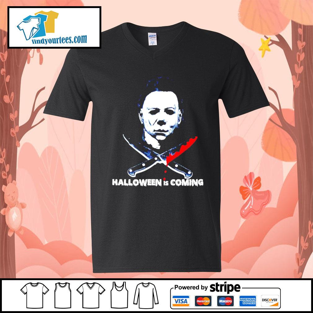 Michael Myers Halloween is coming s V-neck-T-shirt