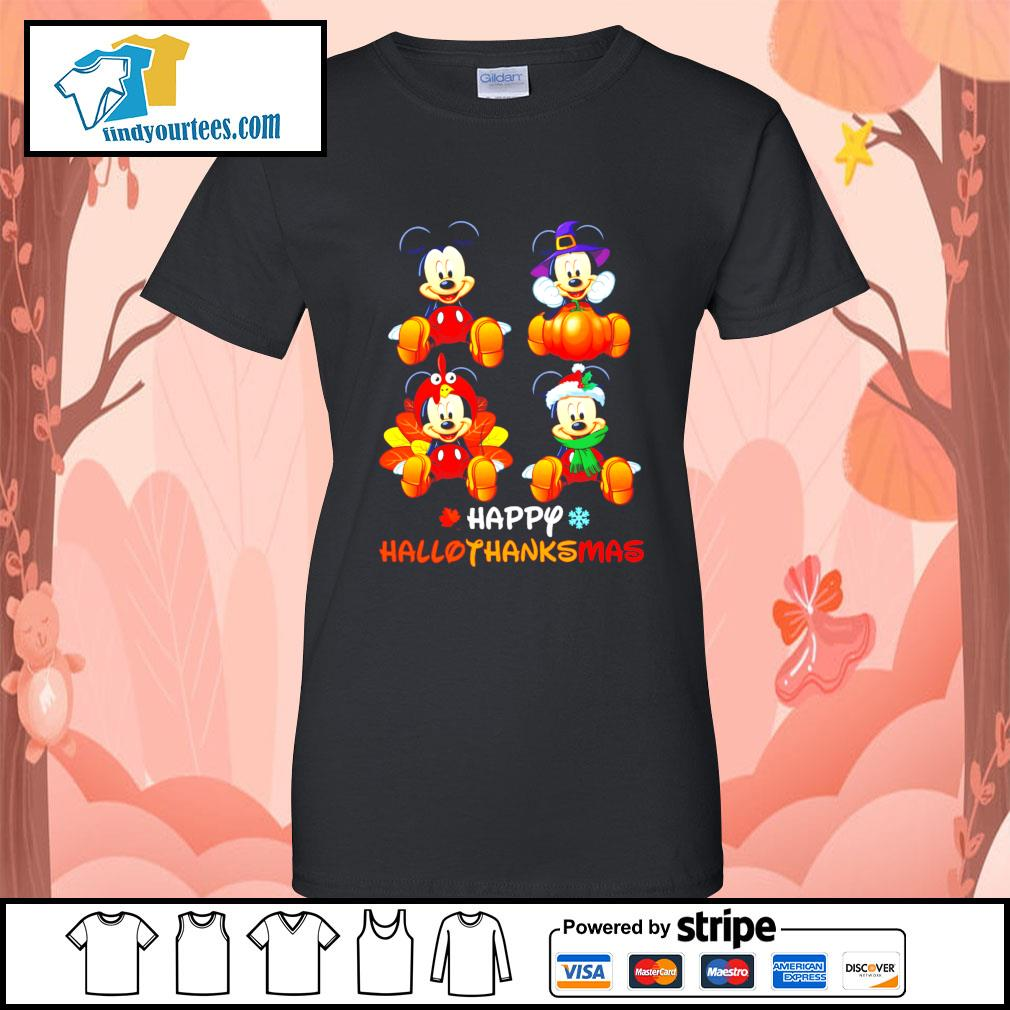 Mickey happy Hallothanksmas Halloween s Ladies-Tee