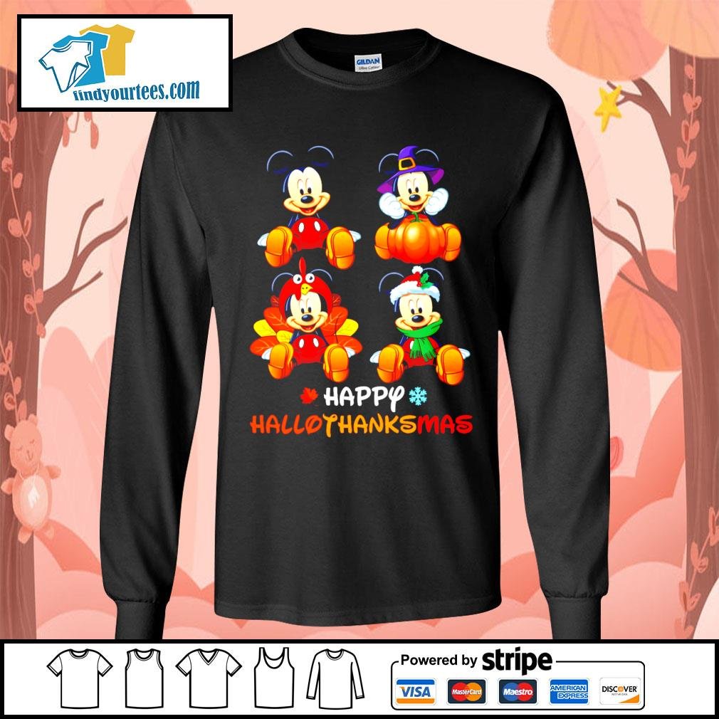 Mickey happy Hallothanksmas Halloween s Long-Sleeves-Tee