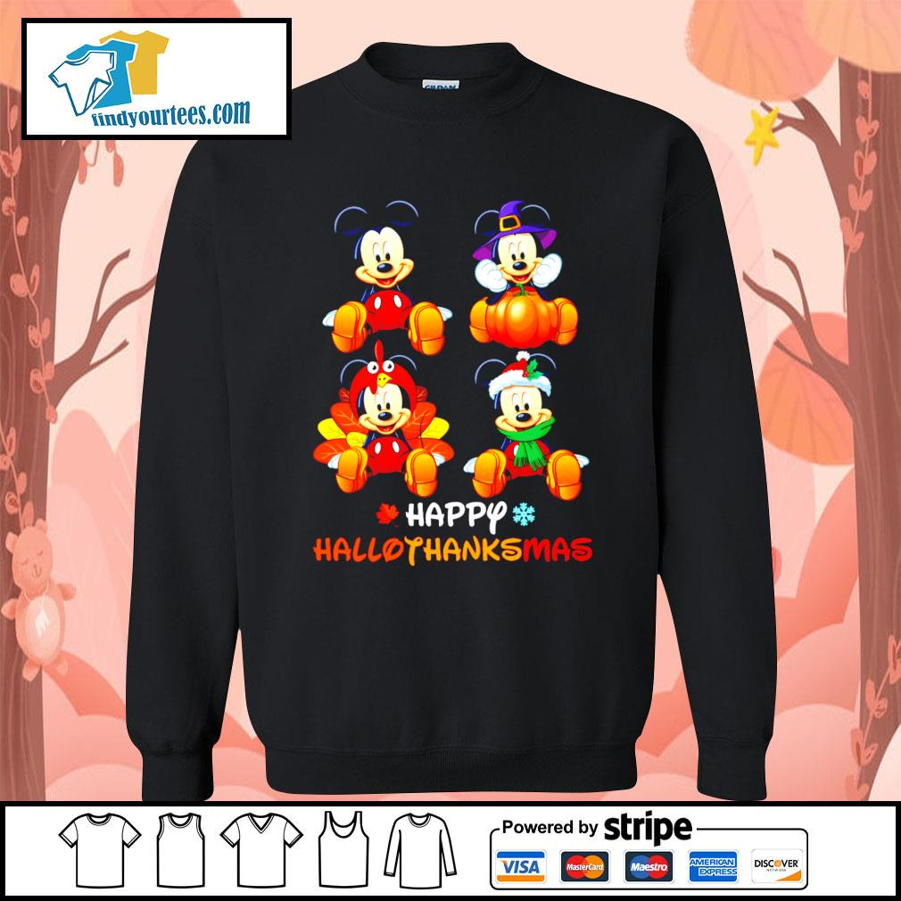 Mickey happy Hallothanksmas Halloween s Sweater