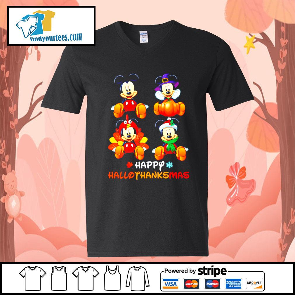 Mickey happy Hallothanksmas Halloween s V-neck-T-shirt